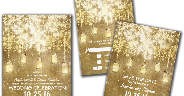 Wedding Cards and Gifts: String Lights Sparkly Mason Jars Wedding Invites