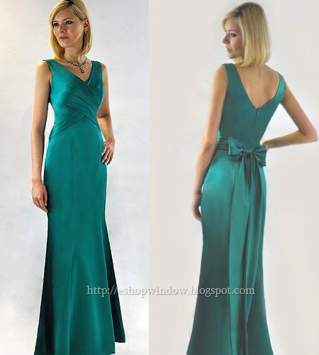 дълга бална рокля в морско синьо-зелено