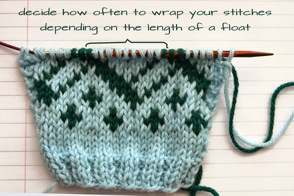 how to catch floats when knitting colourwork. colorwork