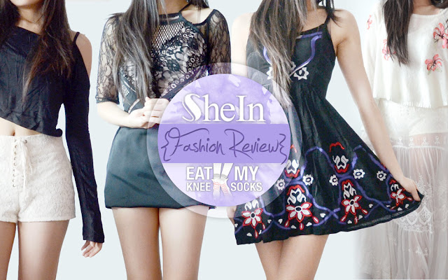 A review of SheIn's long sleeve cold shoulder crop top, tribal embroidered dress, sheer lace maxi slip dress, and black Three Floor Dunn with That dupe dress, brought to you by Eat My Knee Socks/Mimchikimchi.