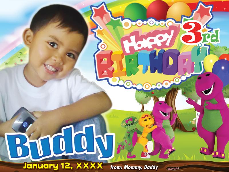 Barney Birthday Layout | CustomizePrintShop
