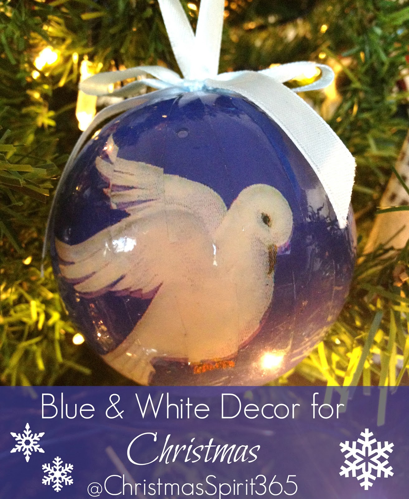 Decorating ideas for a classic blue and white Christmas.