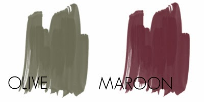 Olive and maroon colour combination