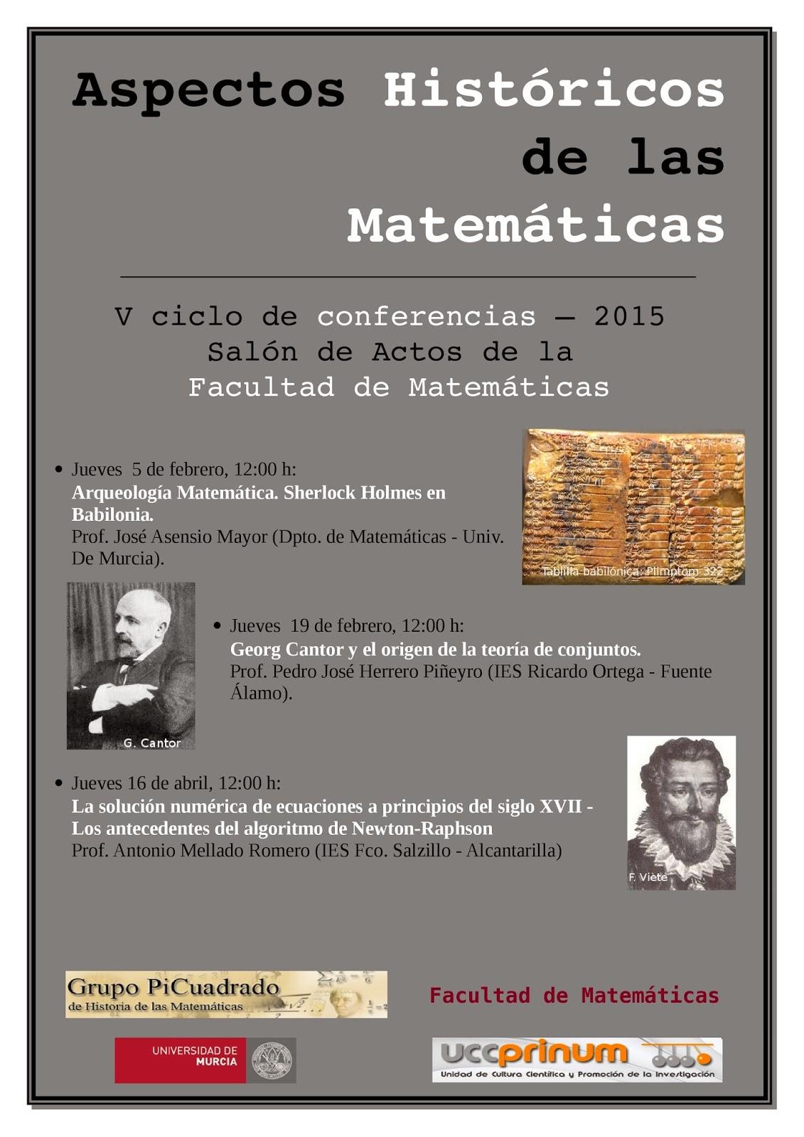"""Ciclo de conferencias: """"Aspectos Históricos de las Matemáticas 2015""""."""