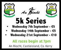 An Ríocht Autumn 5k Series...Castleisland, Co.Kerry...Wed 7th, 14th & 21st Sept 2016