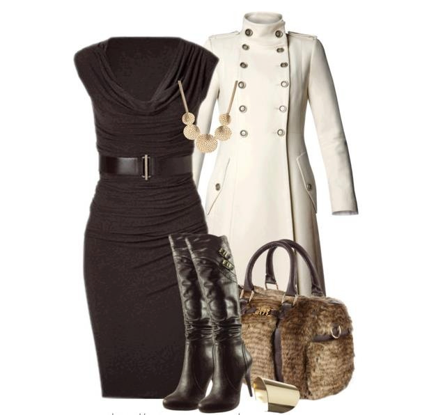 New black dress and white jacket collection for ladies