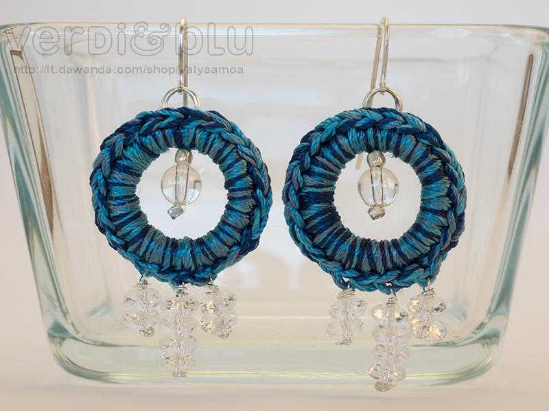 Orecchini crochet filo seta, cristallo di rocca, argento