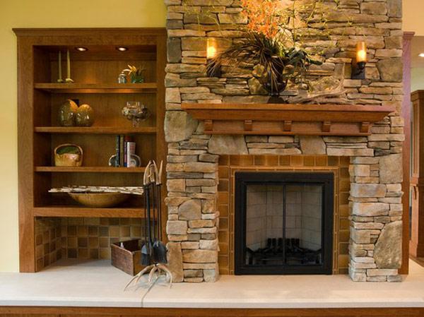 De hermosas fotos salas con chimenea piedra disenos que - Chimeneas de piedra ...