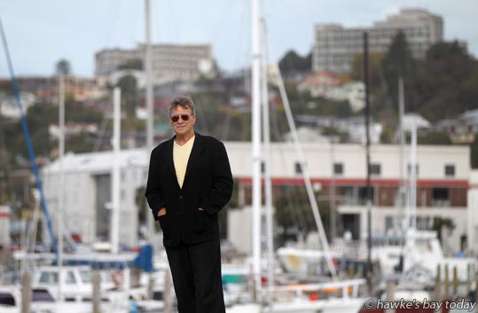 David George, Napier, researcher about accomodation and tourism, pictured in front of the Inner Harbour and Hospital Hill, Ahuriri, Napier, believes Napier should be promoted as a destination, rather than the Bay-wide approach of Hawke's Bay Tourism photograph