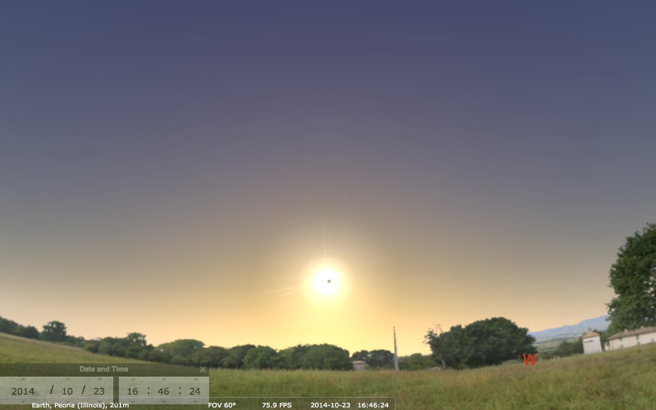 the solar eclipse will be low in the west southwest so have a good view of the horizon if you want to watch it image credit stellarium
