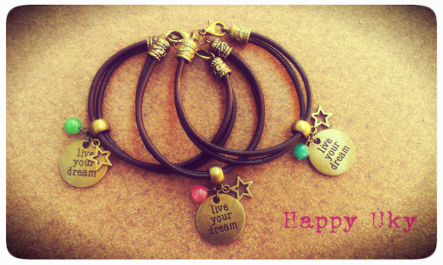 happy uky pulseras cuero live your dream