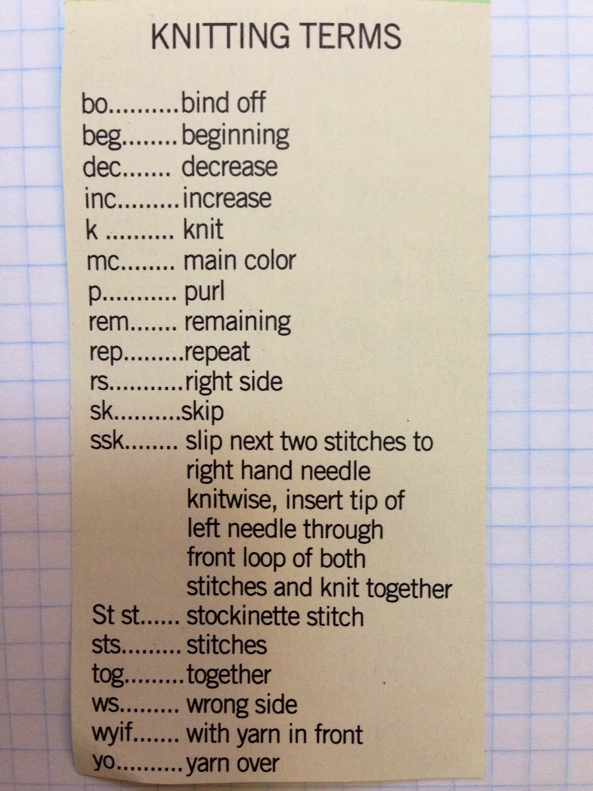 Knitting terms