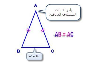 تعريف المثلث المتساوي الساقين