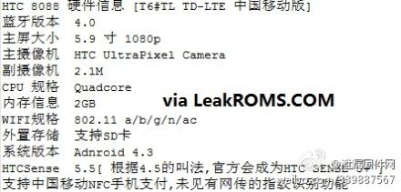 HTC One Max leaked specifications