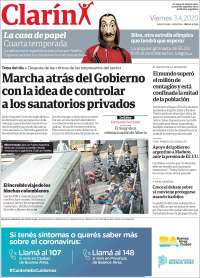03/04/2020    UNA  PRIMERA PÁGINA DE LA PRENSA ARGENTINA