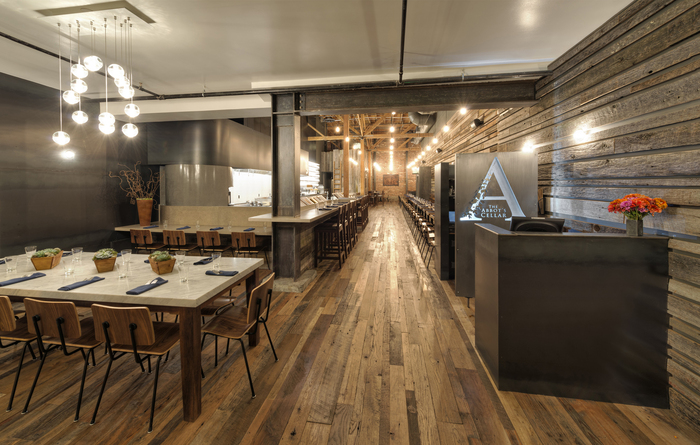 the abbots cellar is a well crafted and warm restaurant located in san francisco the design stays streamlined and clean and gives new light to some - Light Hardwood Restaurant Decoration