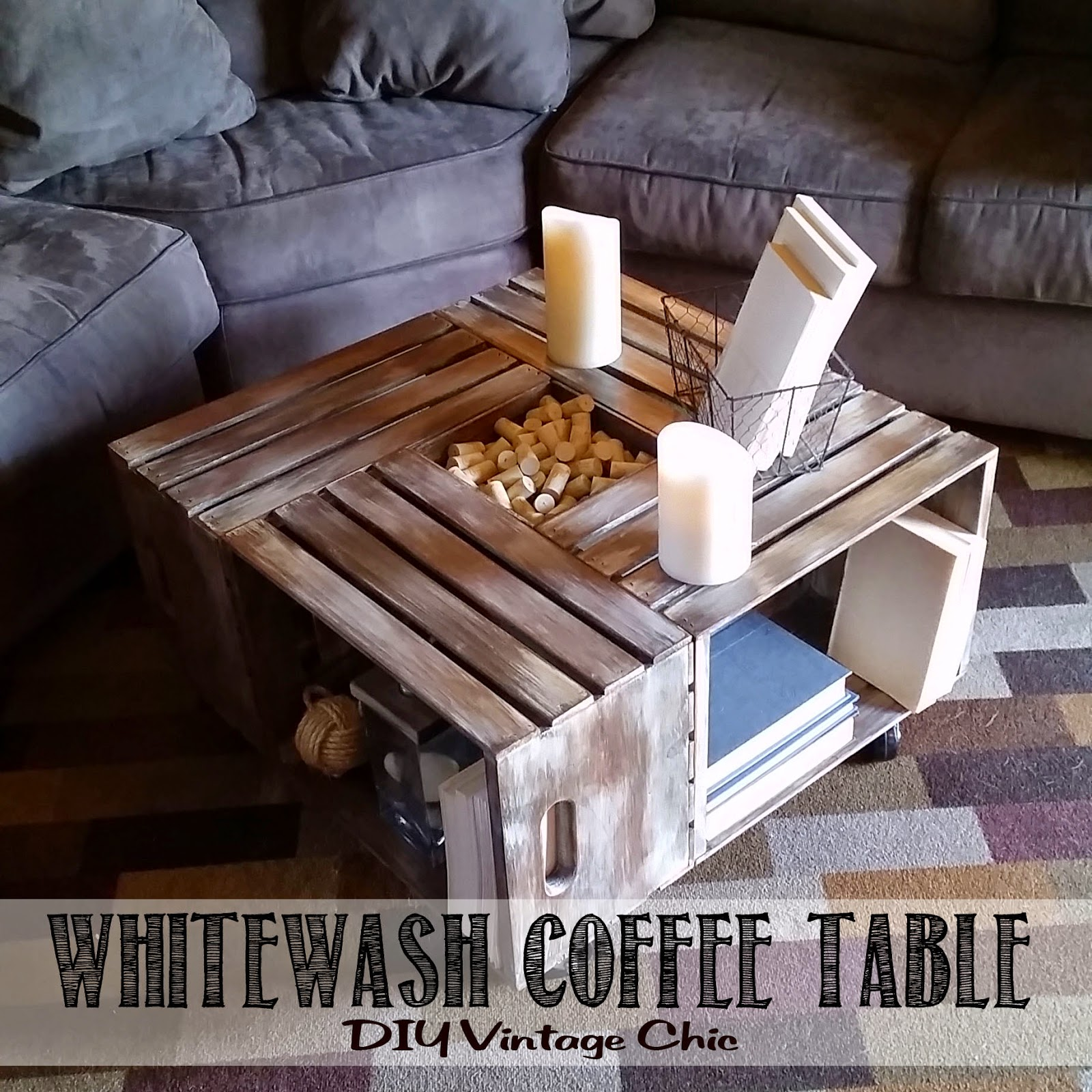 DIY Vintage Chic DIY Vintage Wine Crate Coffee Table Whitewash