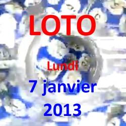 Résultat du LOTO - tirage du lundi 7 janvier 2013