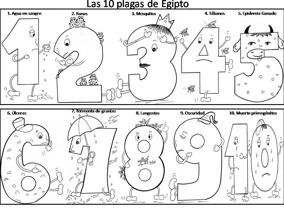 Colorear Las 10 Plagas de Egipto ~ Dibujos Cristianos Para Colorear