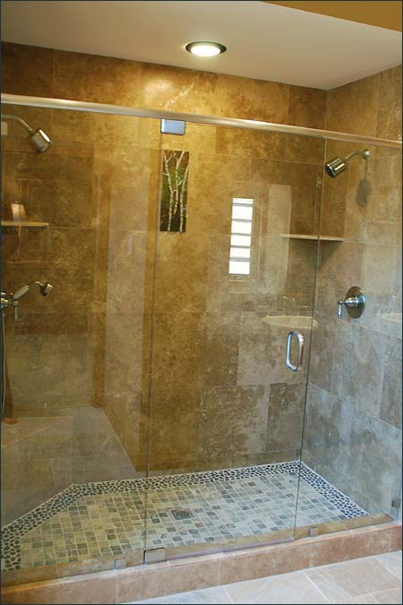 Travertine marble bathroom designs for Granite and tile bathroom ideas