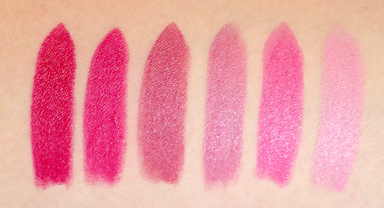 Cover Girl LipPerfection Lipcolor review swatches Tempt, Eternal, Ravish, Tantalize, Bombshell, Yummy