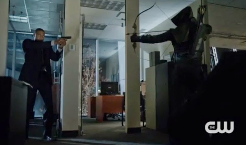 Diggle gun Arrow bow hood stand-off fight Trust but Verify pics photos screencaps images