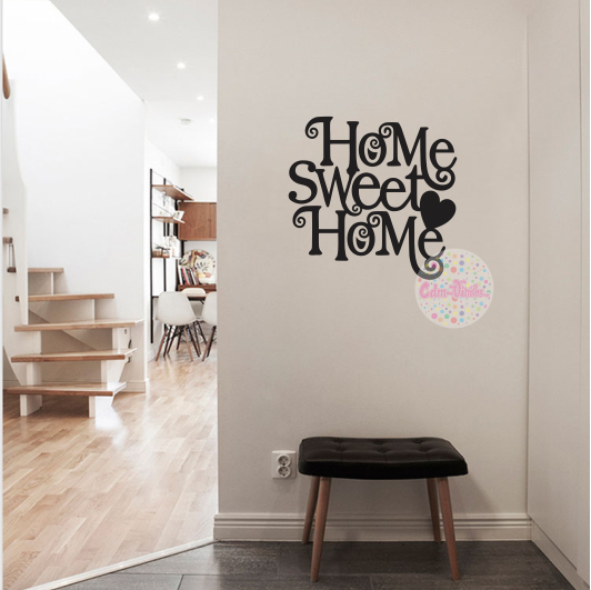 Vinilo decorativo pared frase home sweet home 2 cdm for Vinilo pared habitacion