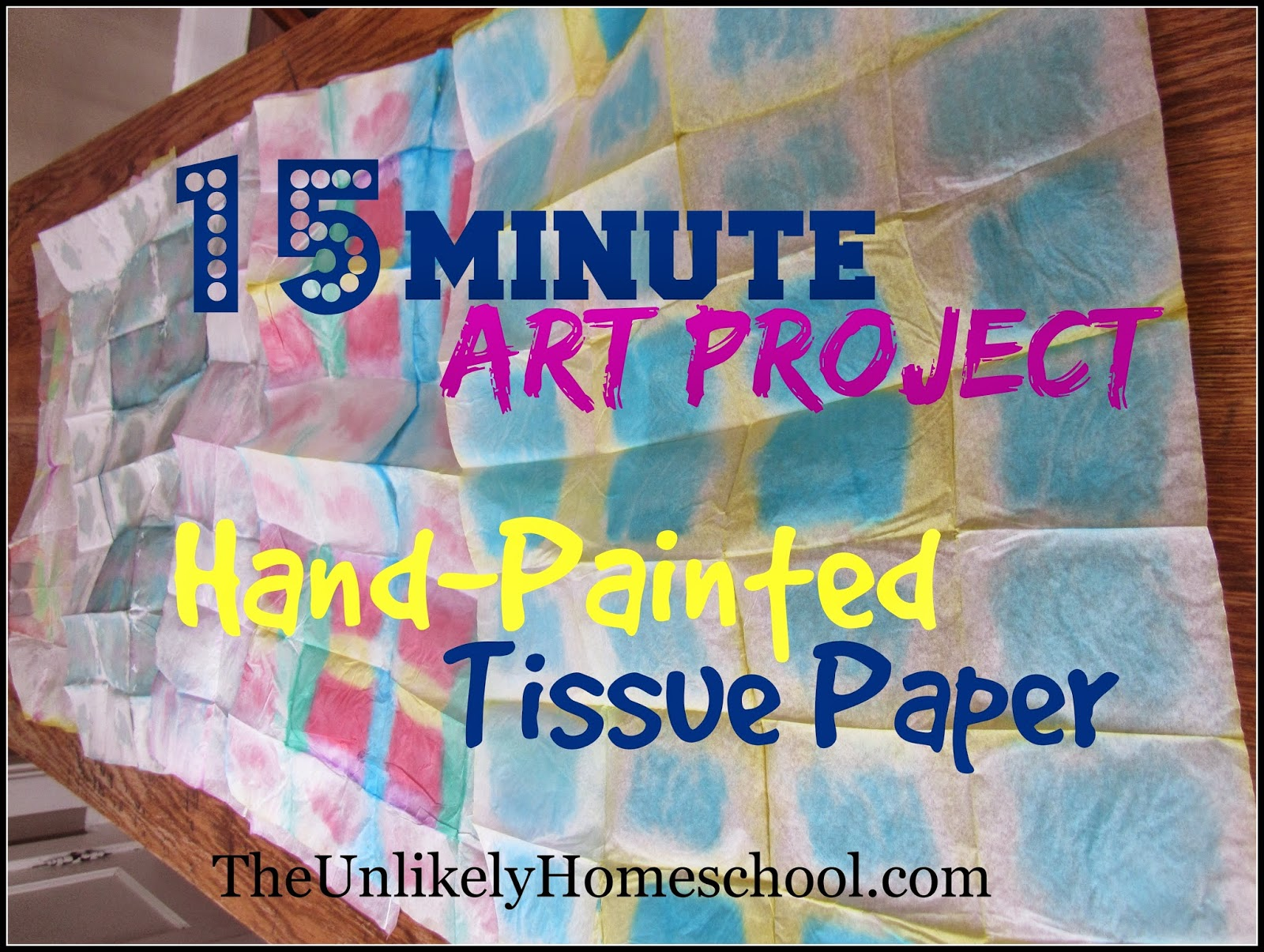 15 Minute Art Project: Hand Painted Tissue Paper {for gift bags} This is a lesson in pattern. [The Unlikely Homeschool]