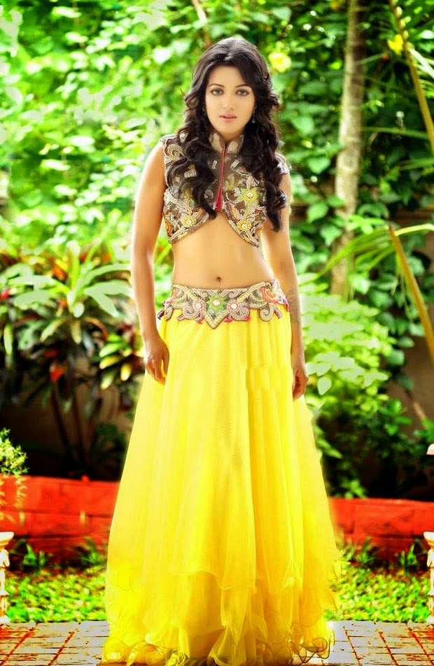 catherine tresa hot navel hd photo yellow dress