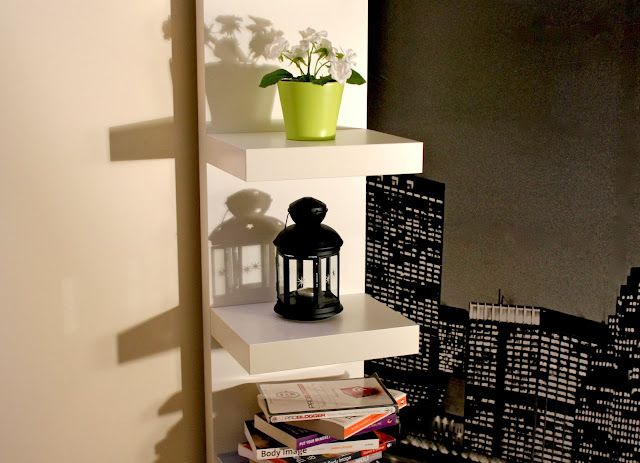 Ikea Homeware, Ikea MALM two drawer side unit, Ikea LACK shelving unit, Ikea BESTA Shelf Unit, New York Wall Mural, Spare Room Decor, Home Decor Ideas