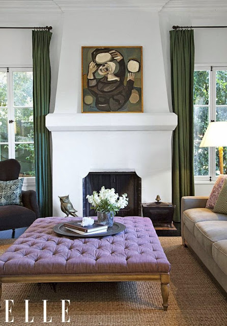 beautiful white living room purple pop of color