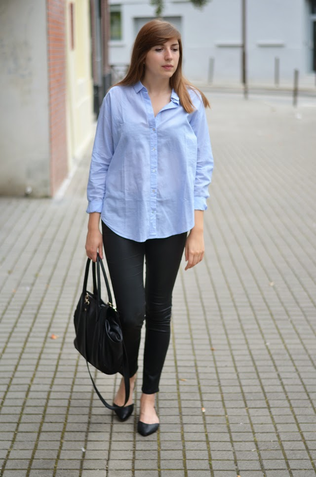 chemise bleue h&m ballerines pointues