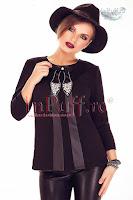 Bluza dama neagra cu perlute si strasuri (Miss Grey)