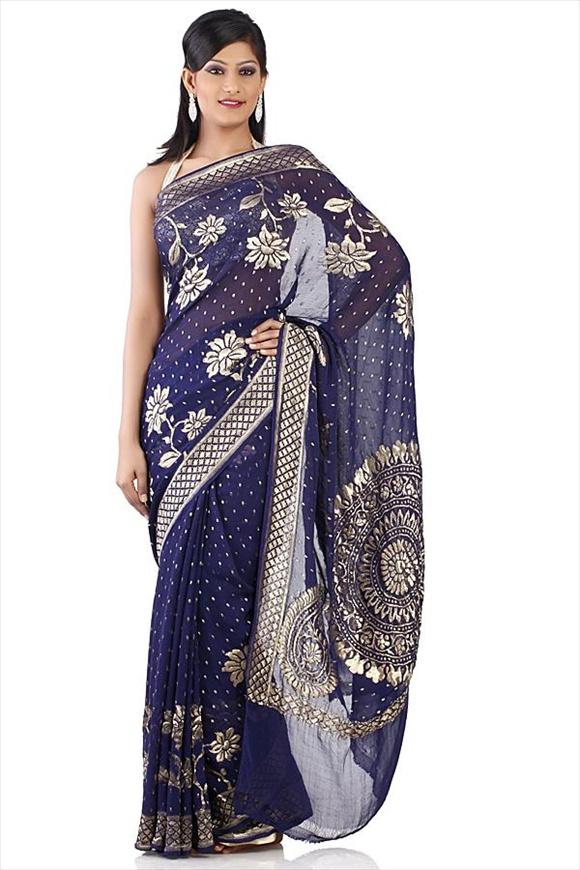 Turquise Blue Georgette Banarasi Saree