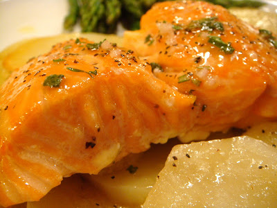 Roasted salmon with herb vinaigrette