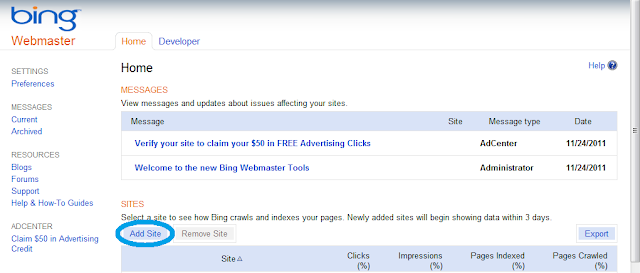 Daftar Blog/Website ke Bing Webmaster Tools