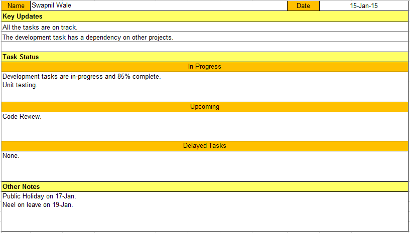 Daily Status Update Template. Daily Status Report Template