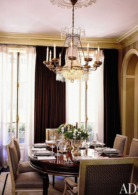 beautiful elegant architectural digest traditional brown gold dining room crystal chandelier