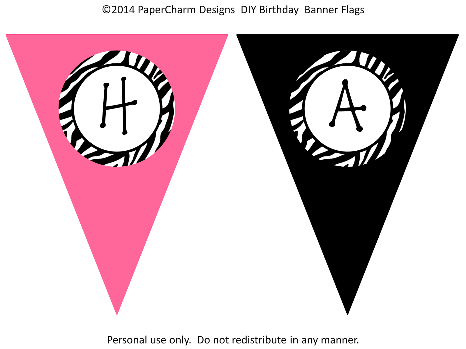 PaperCharm: Free Zebra Birthday Banners!