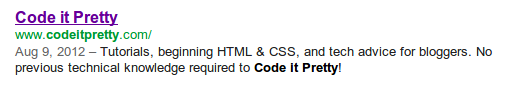 custom meta tag description for Code it Pretty, as seen in Google search results