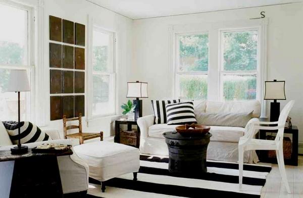 ruang tamu unik dan indah bertema warna putih rancangan