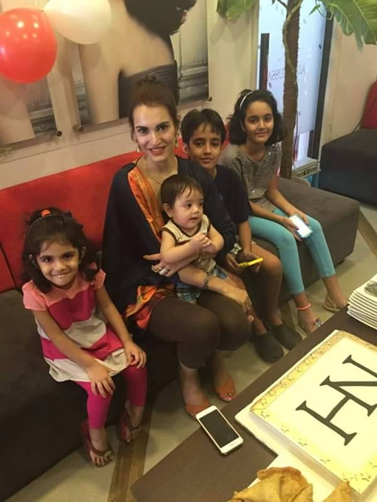 Nadia Hussain with her children