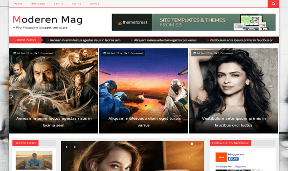 Modern Mag Responsive Blogger Template
