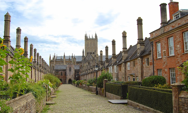 Looking south down the Vicar's Close in Wells, England
