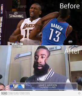 Funny picture elebow Ron Artest vs James harden