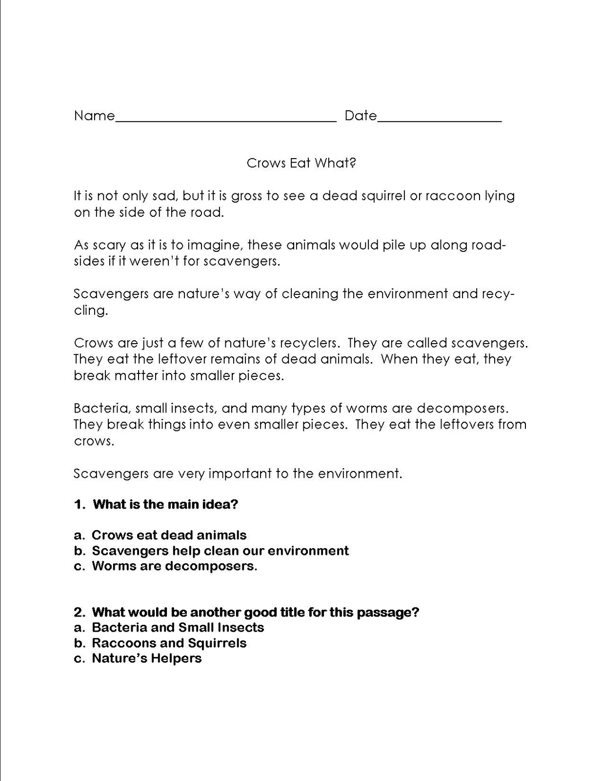 worksheet 3rd Grade Main Idea Worksheets literacy math ideas main idea learning centers centers