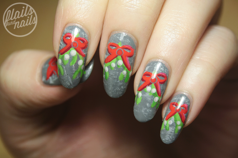 Mistletoe nail art with barry m chai flails and nails barry m chai coconut passionfruit raspberry key lime and opi greenwich village prinsesfo Choice Image