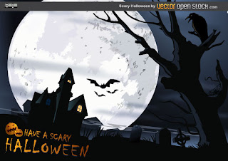 Scary Halloween Black And White Vector