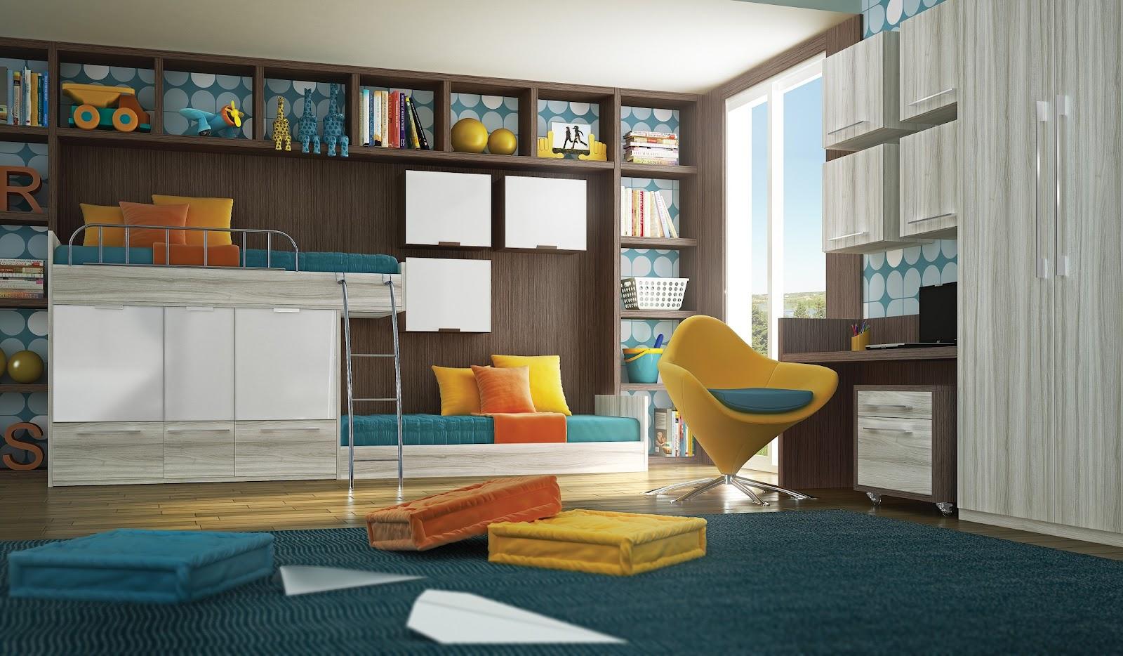 nichos e estantes planejadas para o quarto infantil