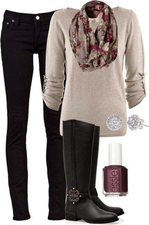 Black pants, scarf, creamy sweater and long boots combination for fall